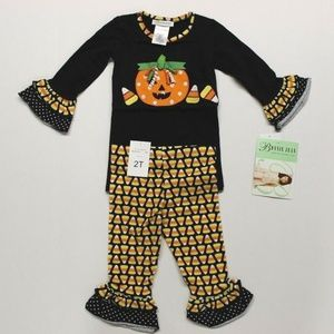 Bonnie Jean Pumpkin & Candy Corn Halloween Outfit
